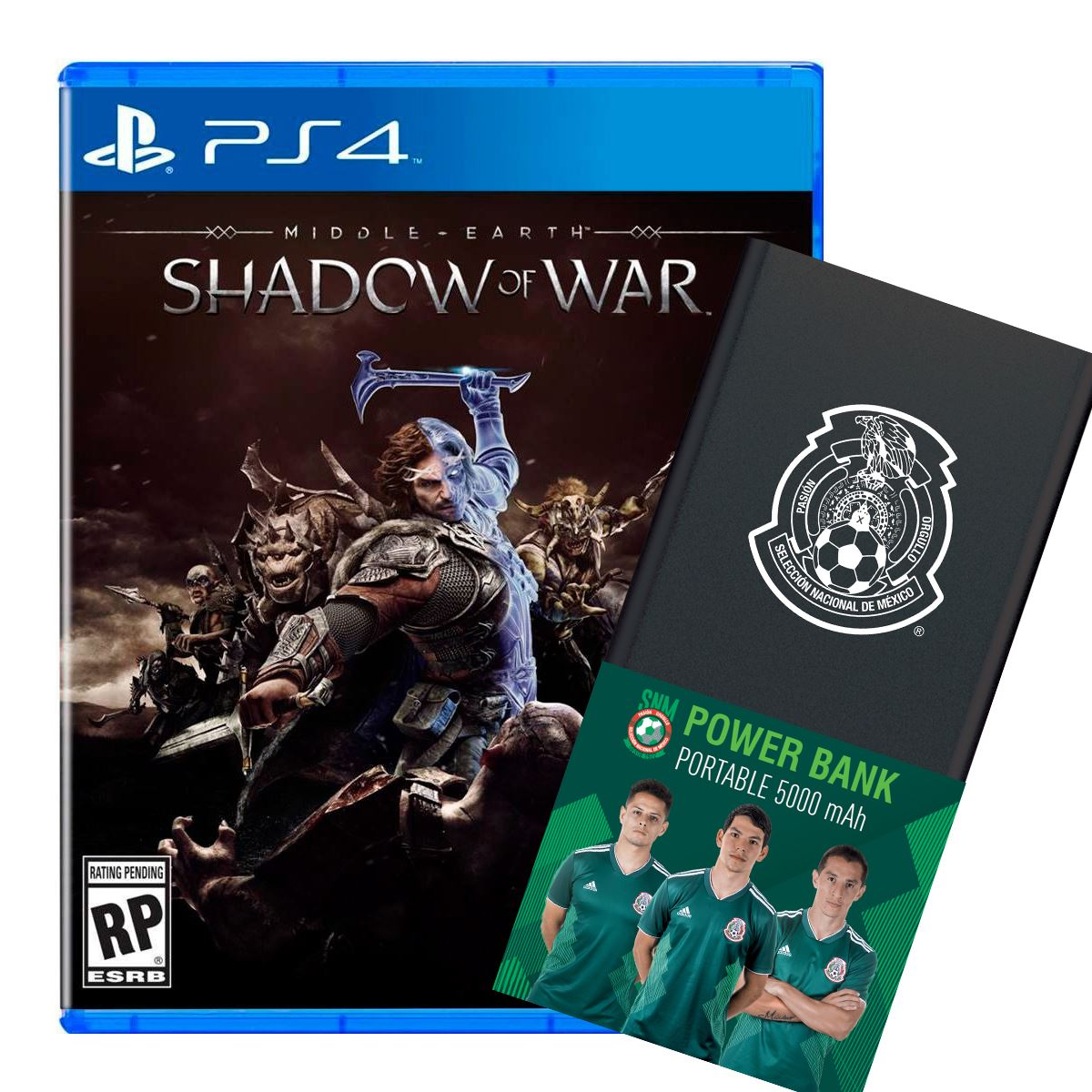 PS4 Shadow of War Me+ Power Bank Negro