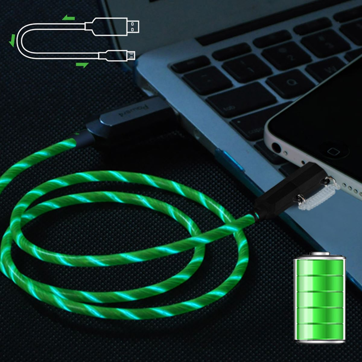 Cable lightning microusb verde visible  - Sanborns