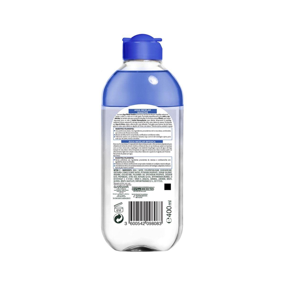 Agua Micelar Desmaquillante Piel Sensible Garnier 400 ml