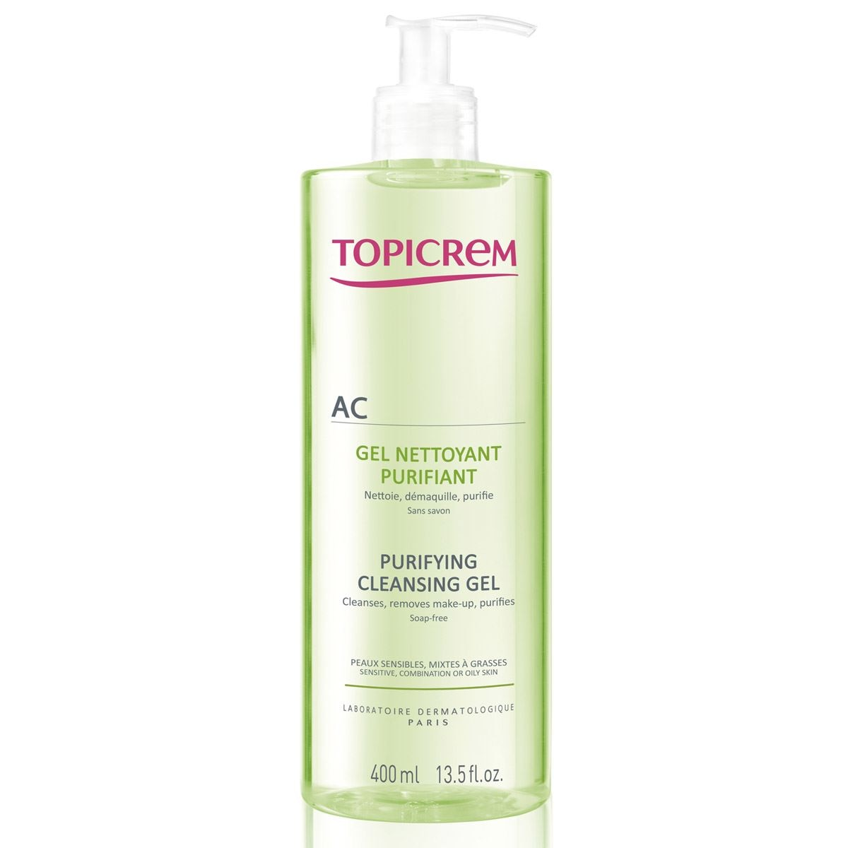 Gel limpiador purifiante de 400 ml de topicrem  - Sanborns