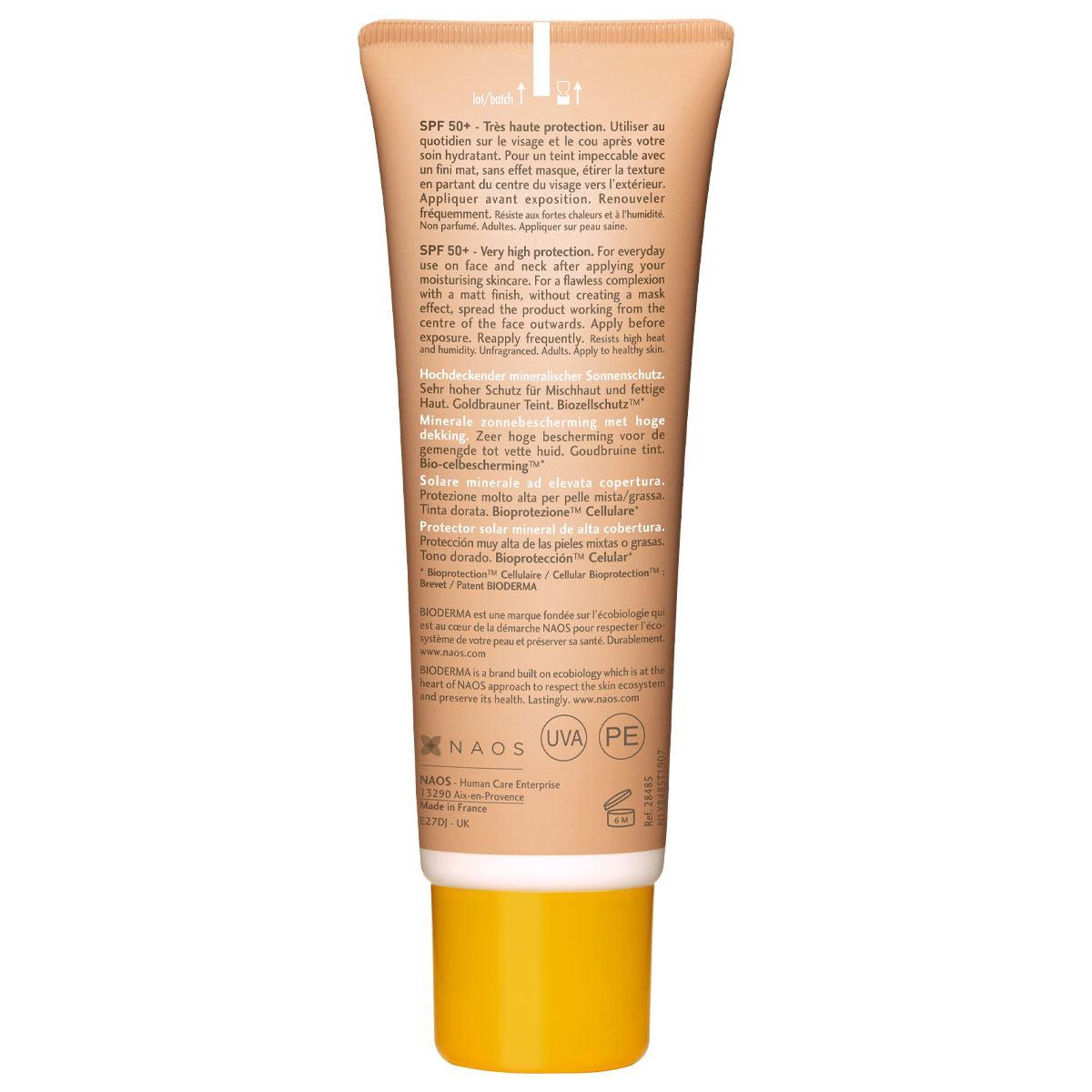 Bioderma Photoderm Cover Touch Protector Solar SPF50+ Tono Dorado Efecto Maquillaje, 40 ml