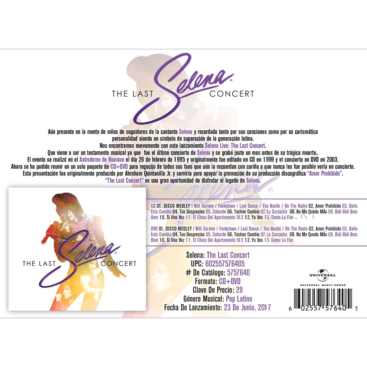 CD/DVD Selena The Last Concert