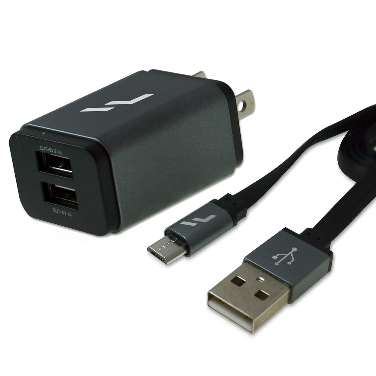 Cargador Rápido Pared Micro USB Gris