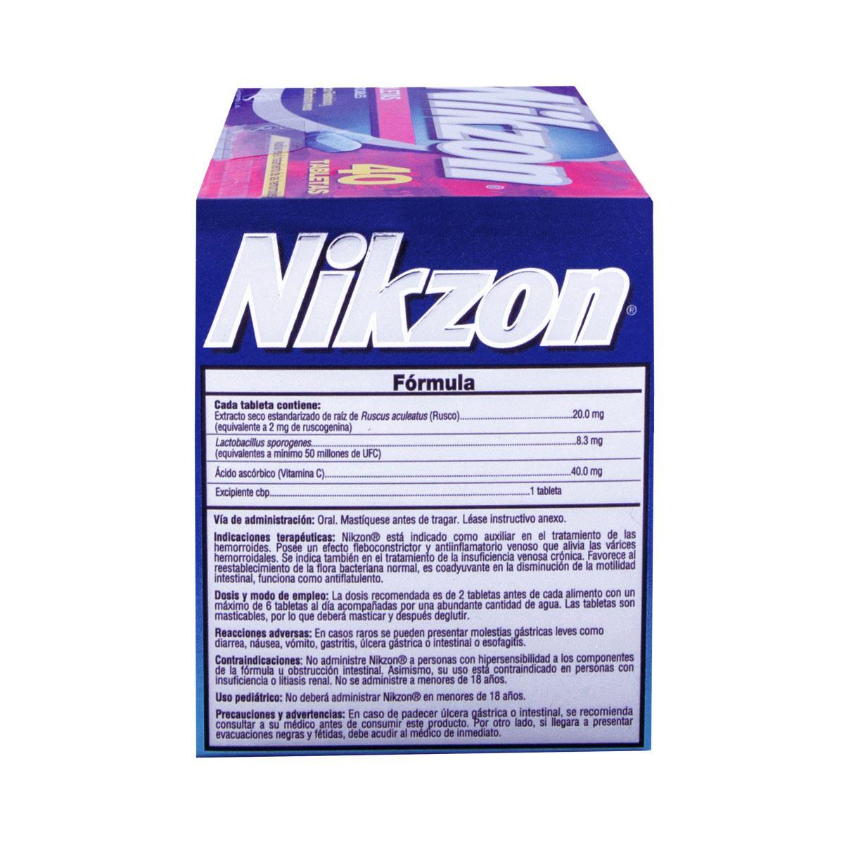 Nikzon 40 tabletas e/10  - Sanborns