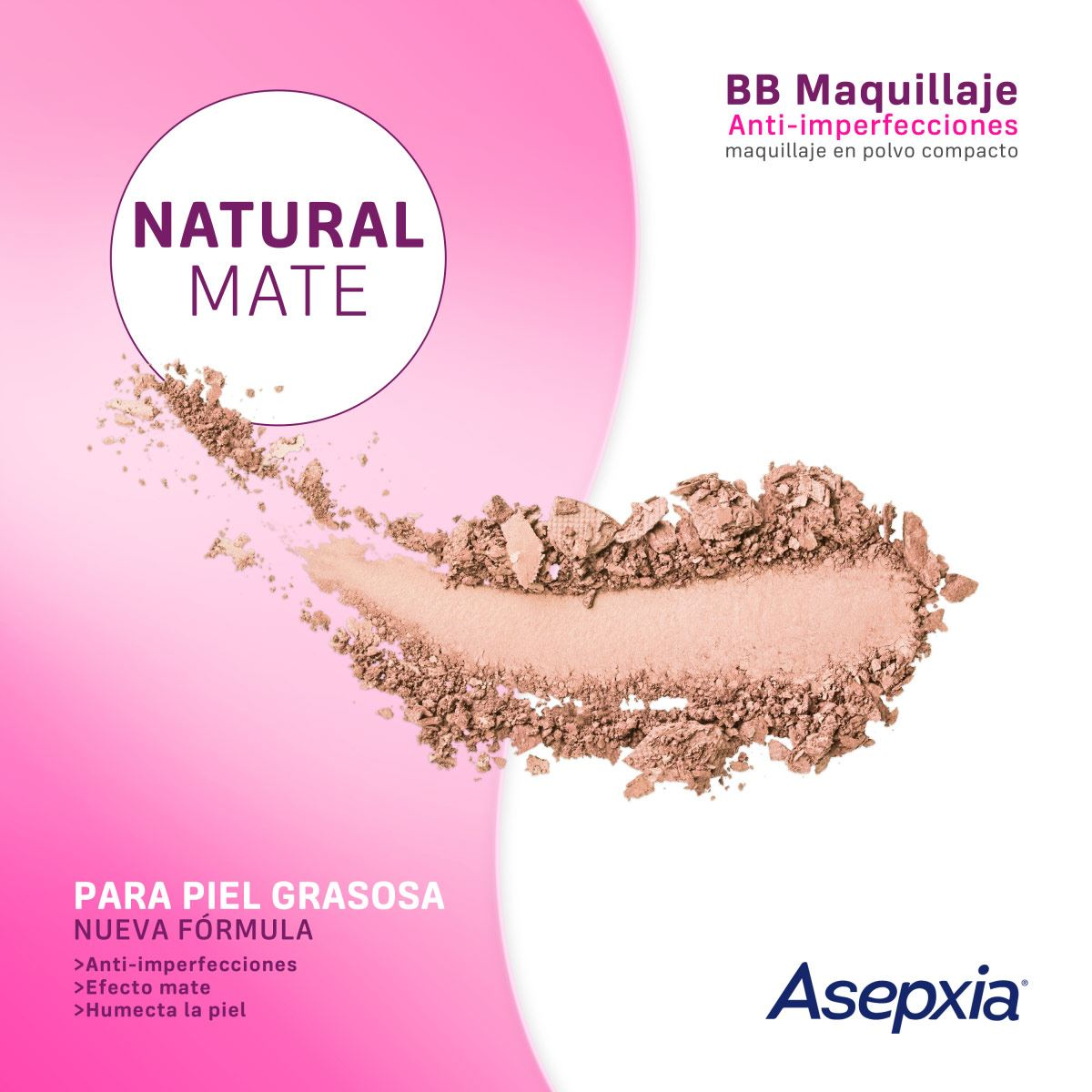 Maquillaje BB Polvo E/6 FPS 15 Natural Mate 10 G Asepxia