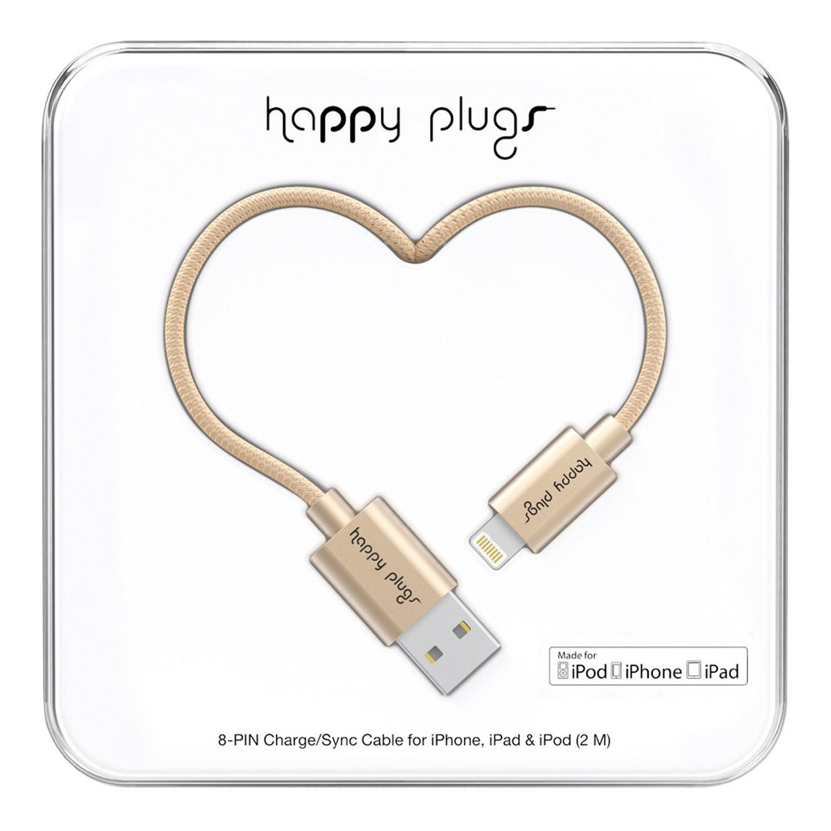 Cable Happy Plugs Lighthing Champagne 2M