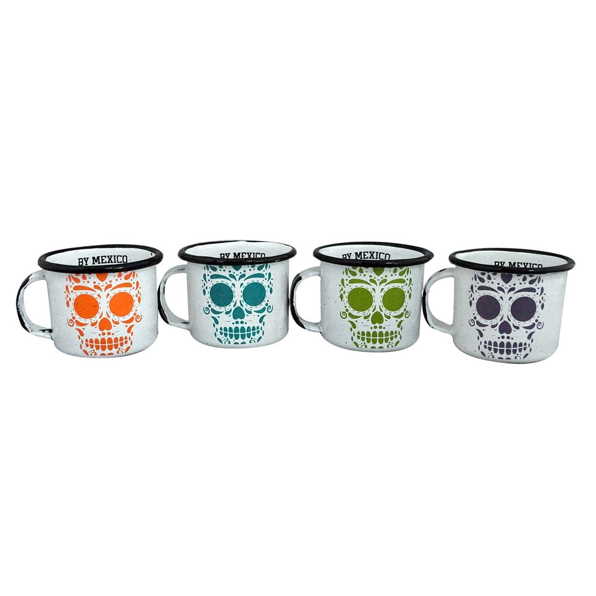 Set de 4 mini pocillos calavera By México