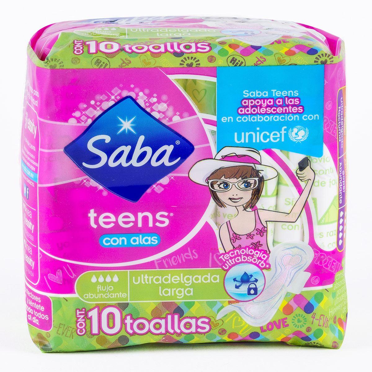 Saba Teens con Alas Ultra Delgada con 10 Pzs.