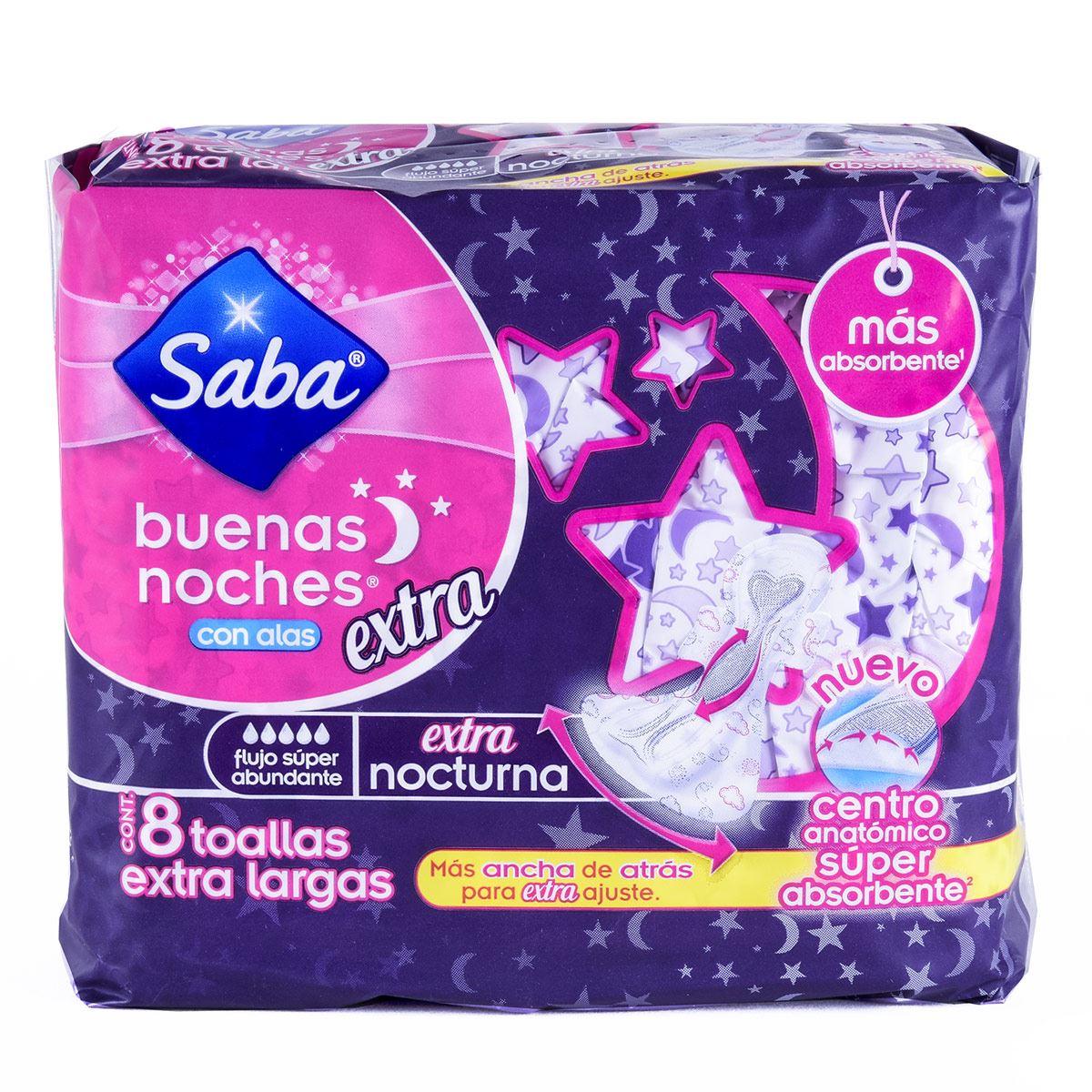 Saba Buenas Noches Extra Nocturna con Alas con 8 Pzs.