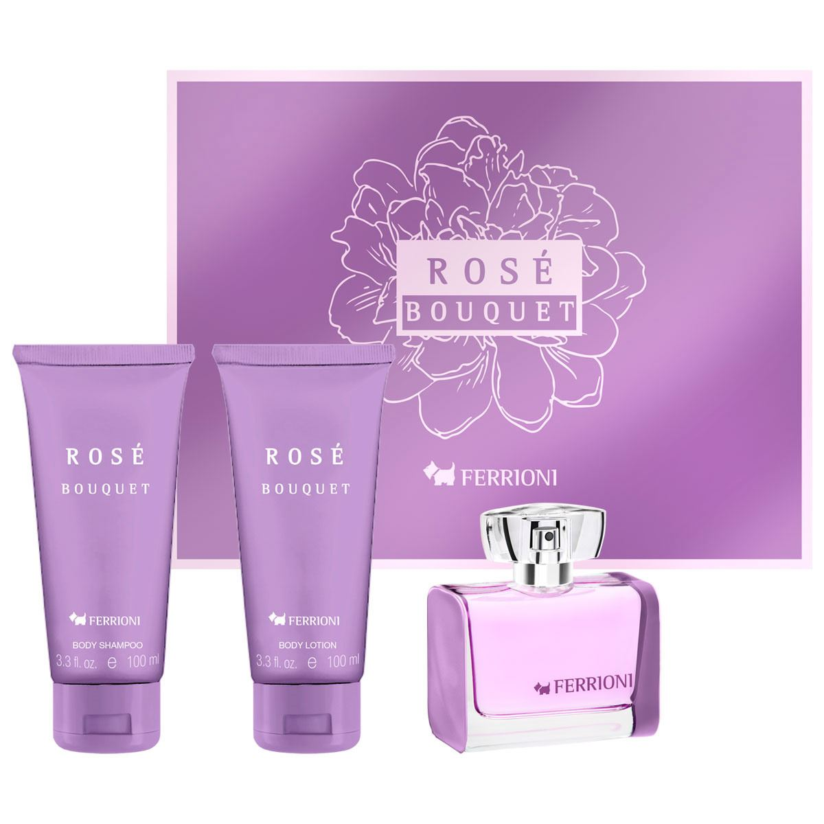 Fragancia Para Dama Set de Navidad Rose Bouquet Ferrioni