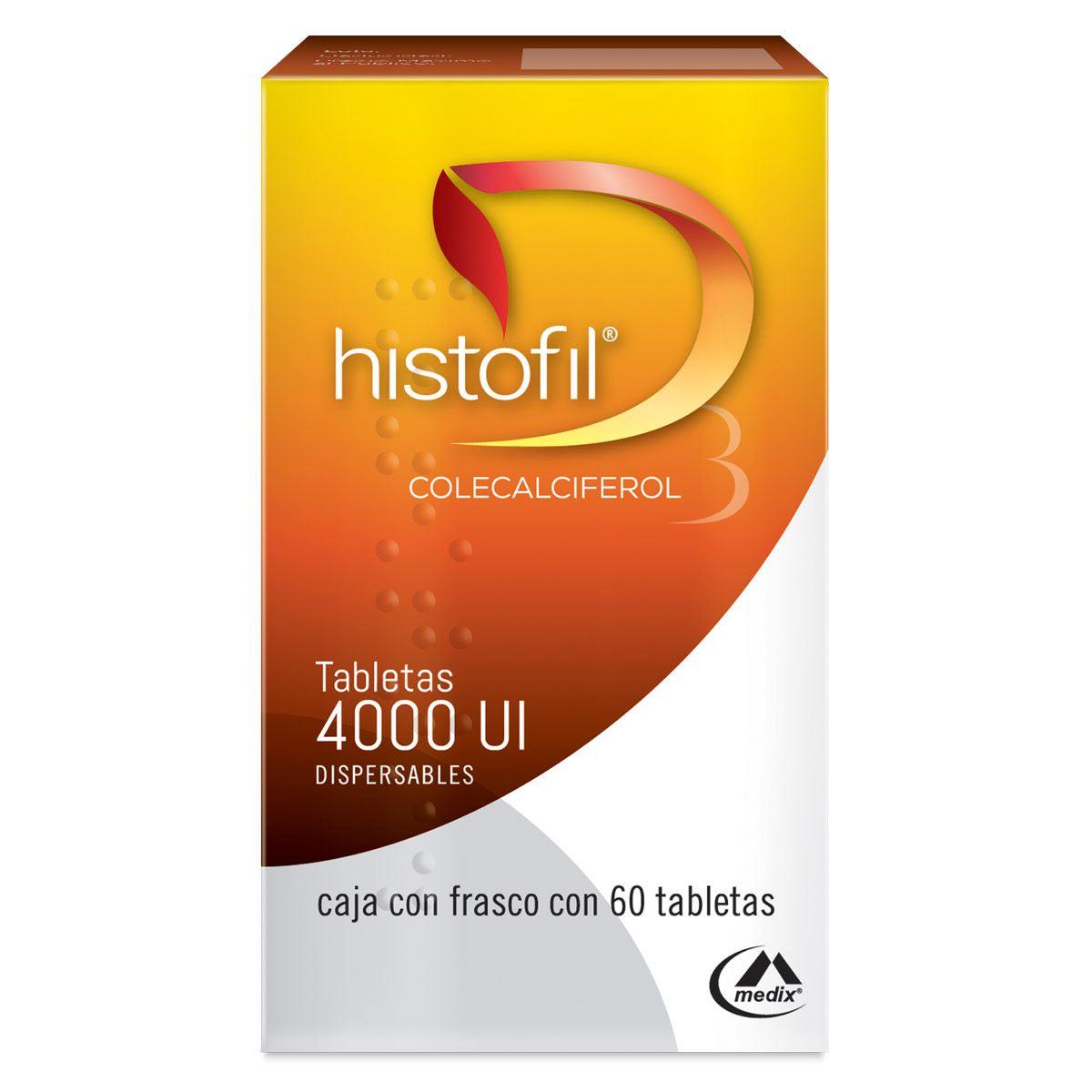Histofil 4000 UI (vitamina D3) frasco con 60 tabletas. Colecalciferol.
