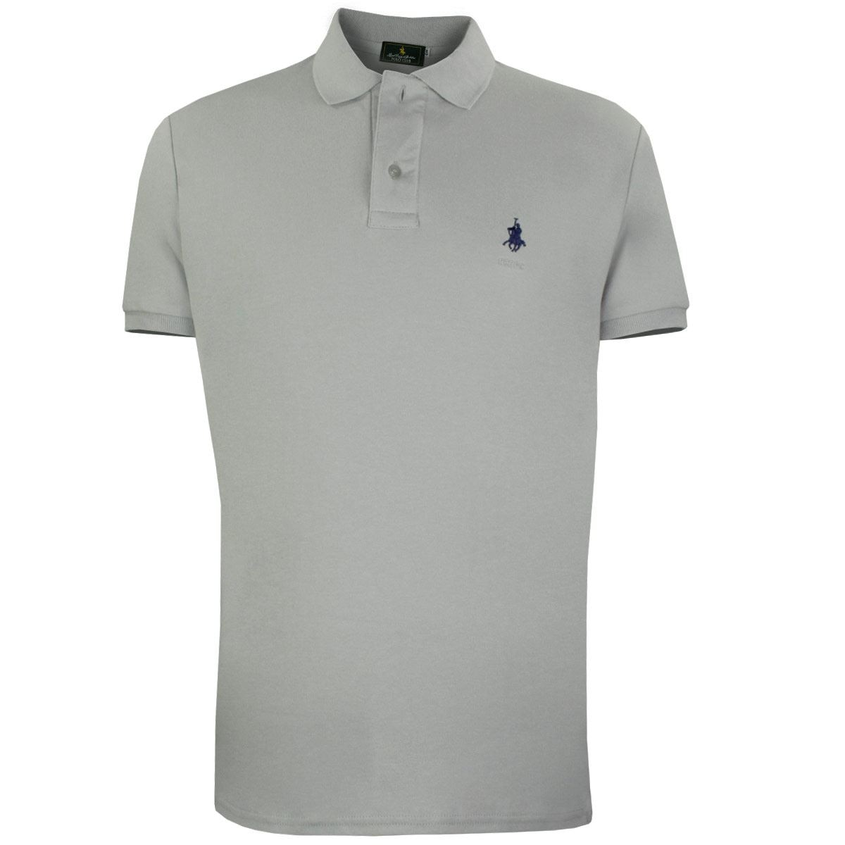 Playera Polo Club Mc Liso Algodón Gd Gris