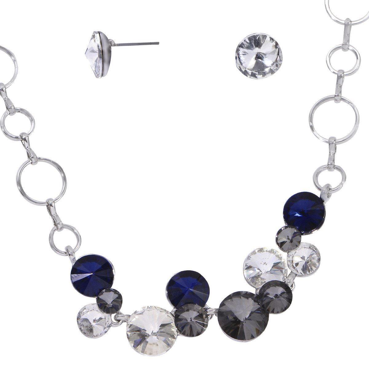 Set para dama collar y aretes con zirconias chapa de rodio de Unlimited By Oro Boleado