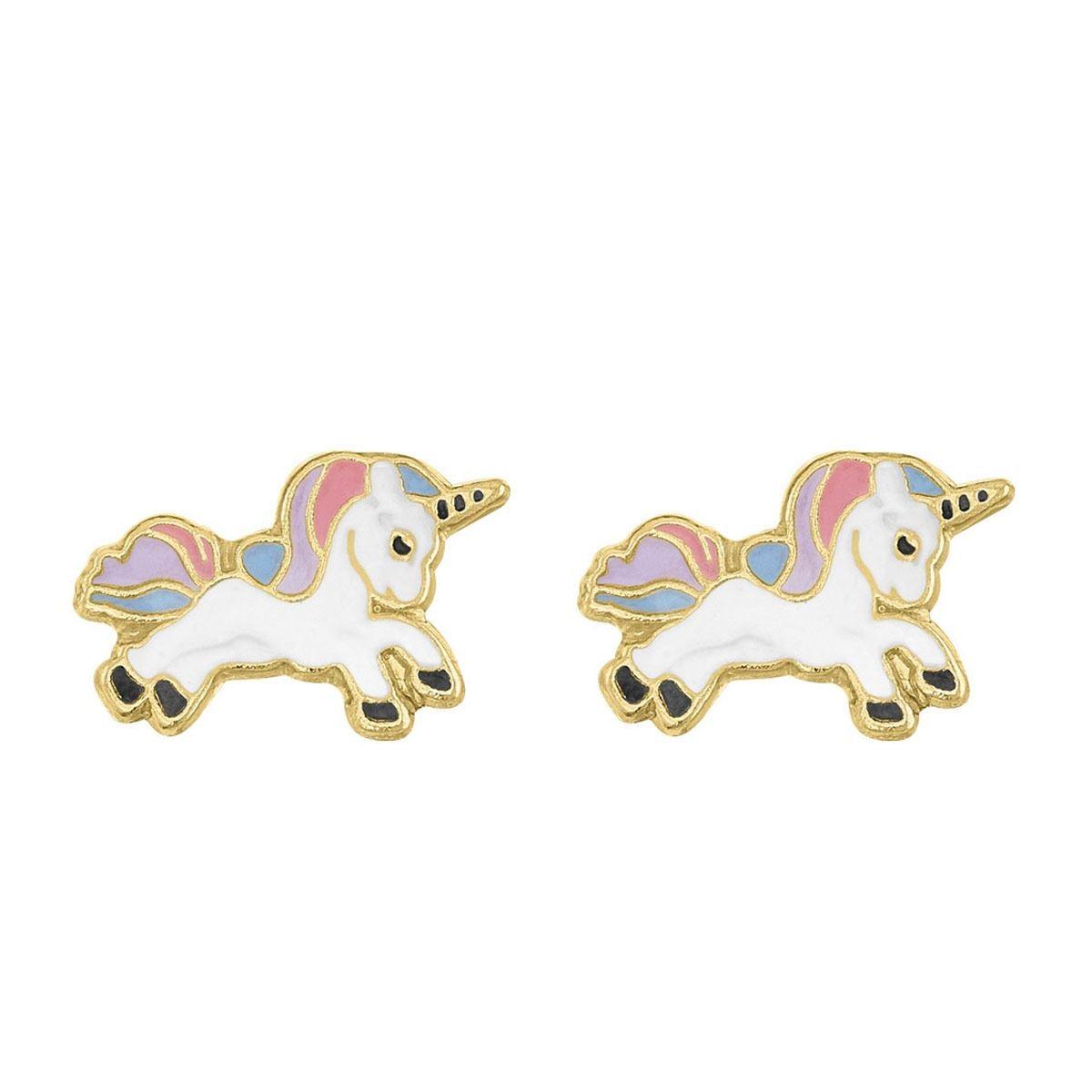 Broquel de oro de 14 k Unicornio Arcoiris