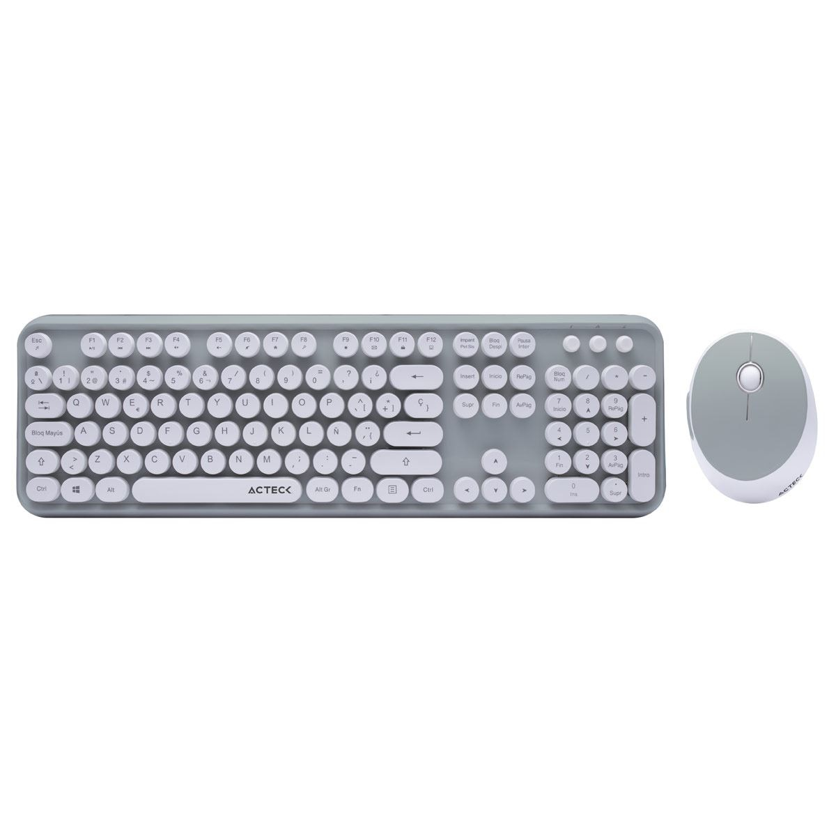 Kit Teclado y Mouse Retro RK110 Aqua Acteck