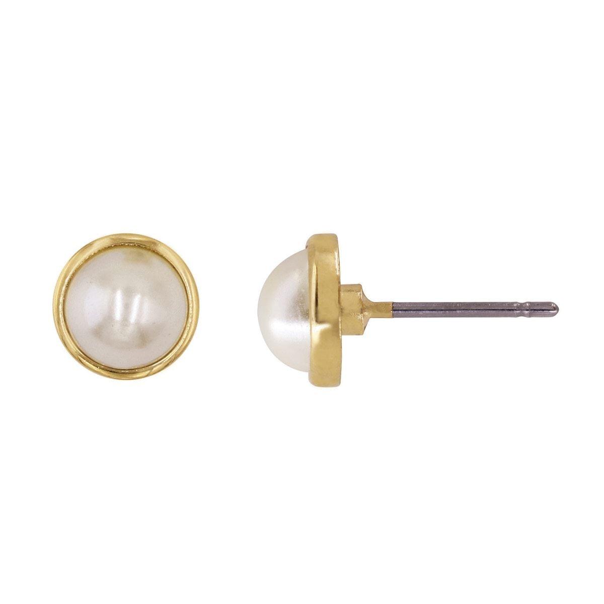 3a1a33e51604 Broqueles en Acabado Dorado con Perla Color Blanca