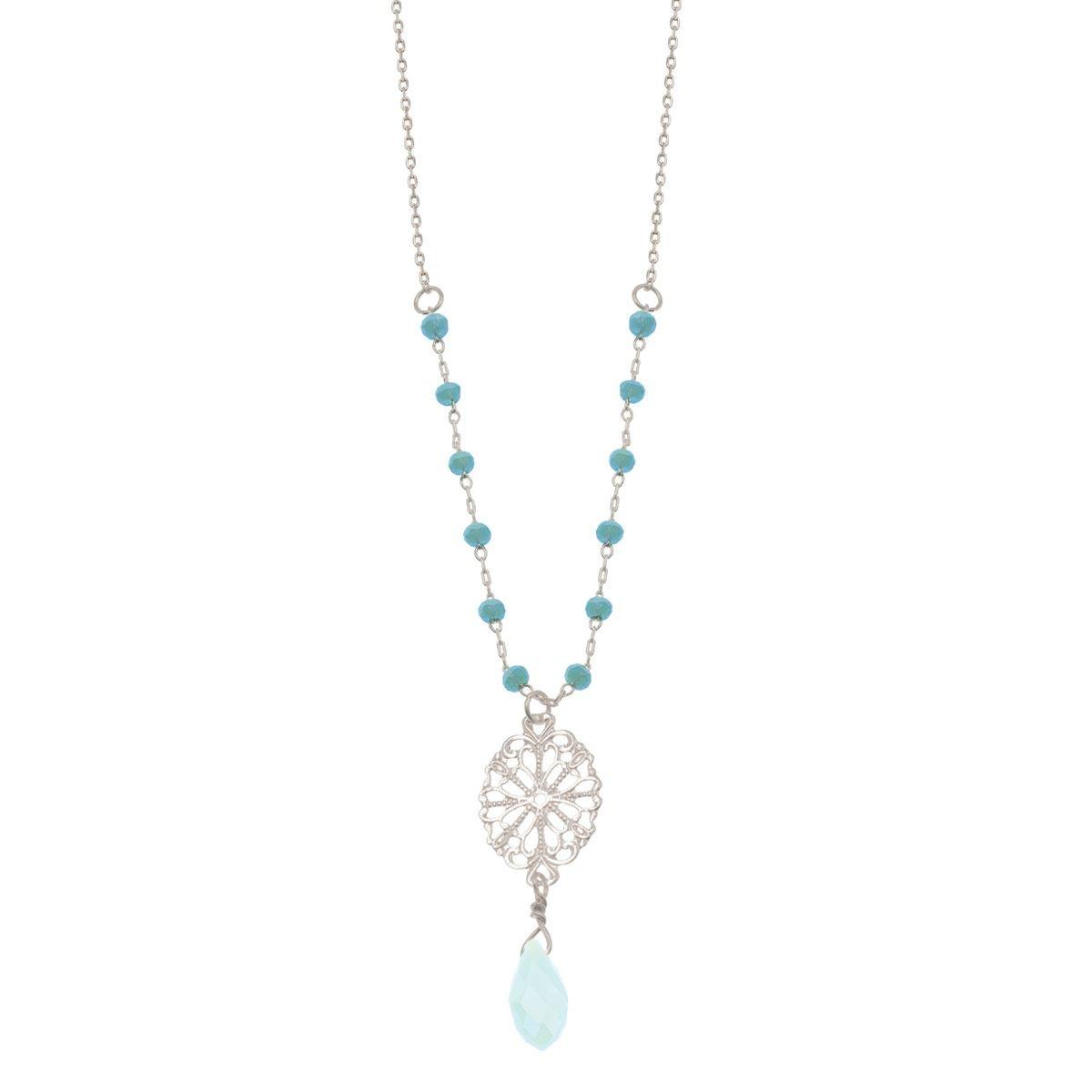 Dije largo en acabado plata con filigrana beads color turquesa Adrianne Picard