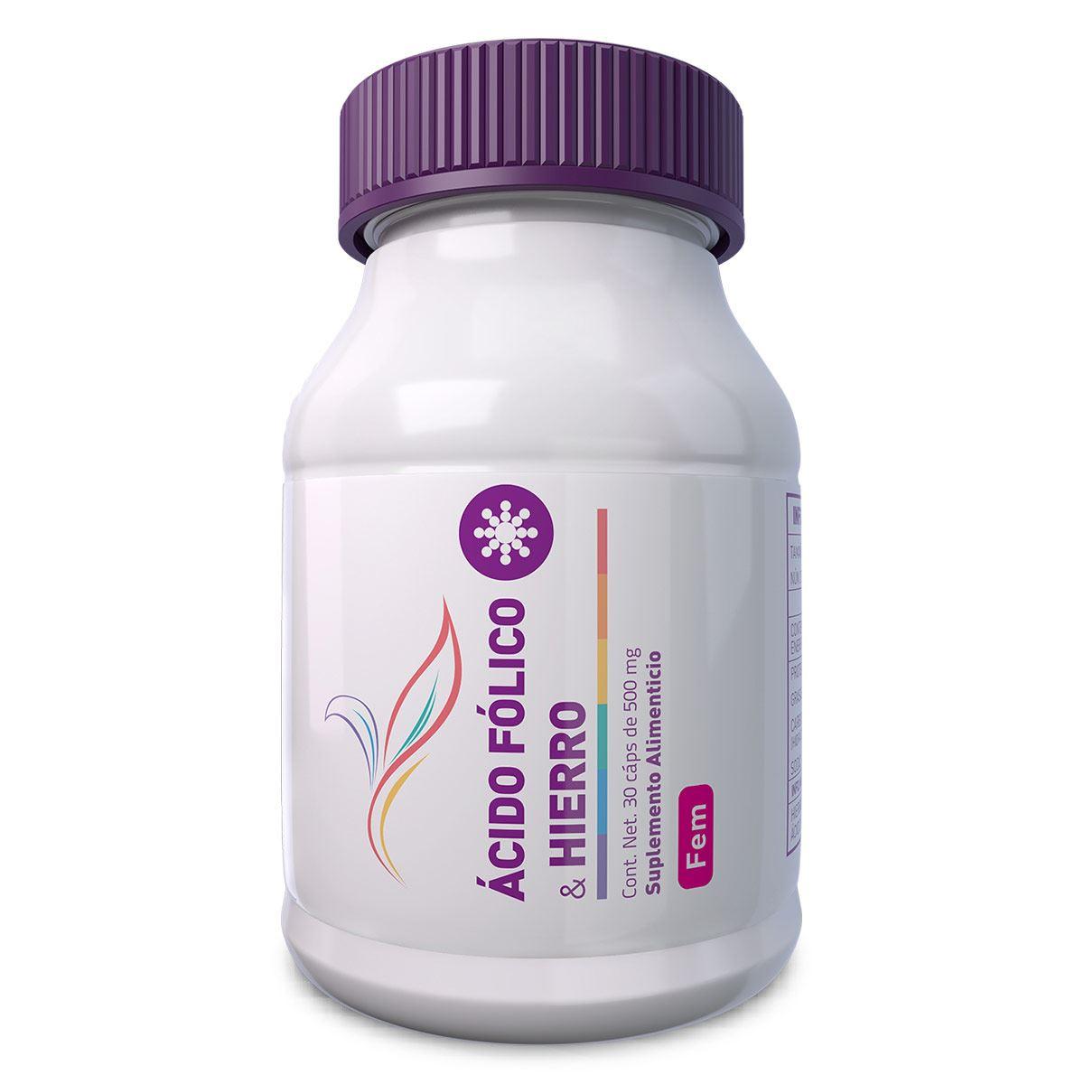 Suplemento Ácido Folico & Hierro 30 Cápsulas 500 mg Essential Nutrition