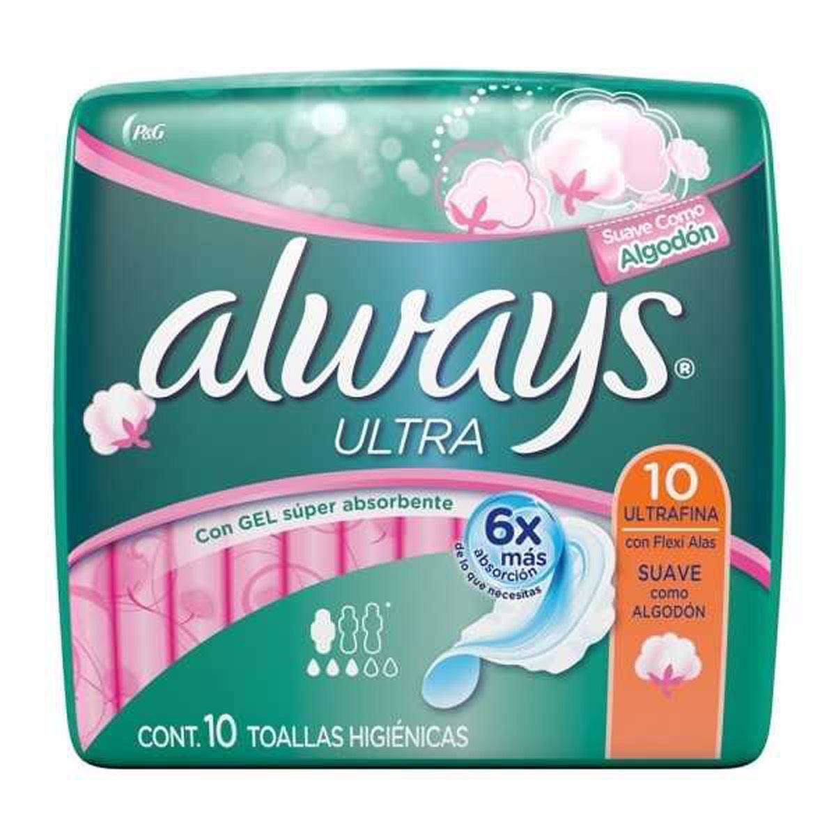 Toallas Sanitarias Ultra Fina con Alas 10 pz Always