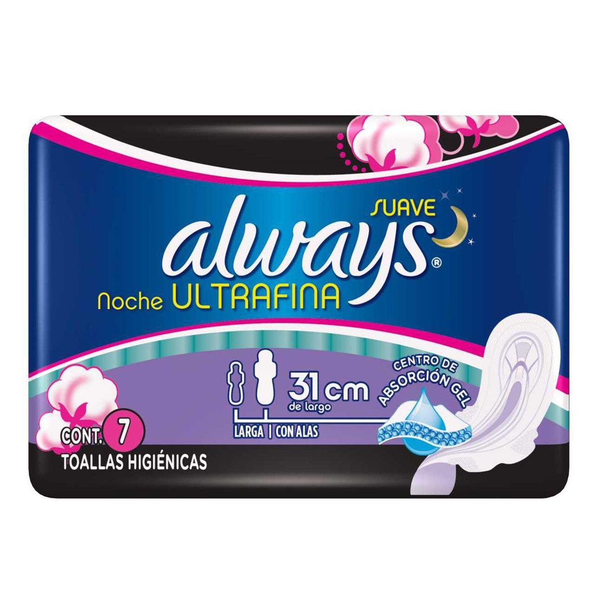 Toallas Sanitarias Ultra Fina Nocturna con alas con 7 Always