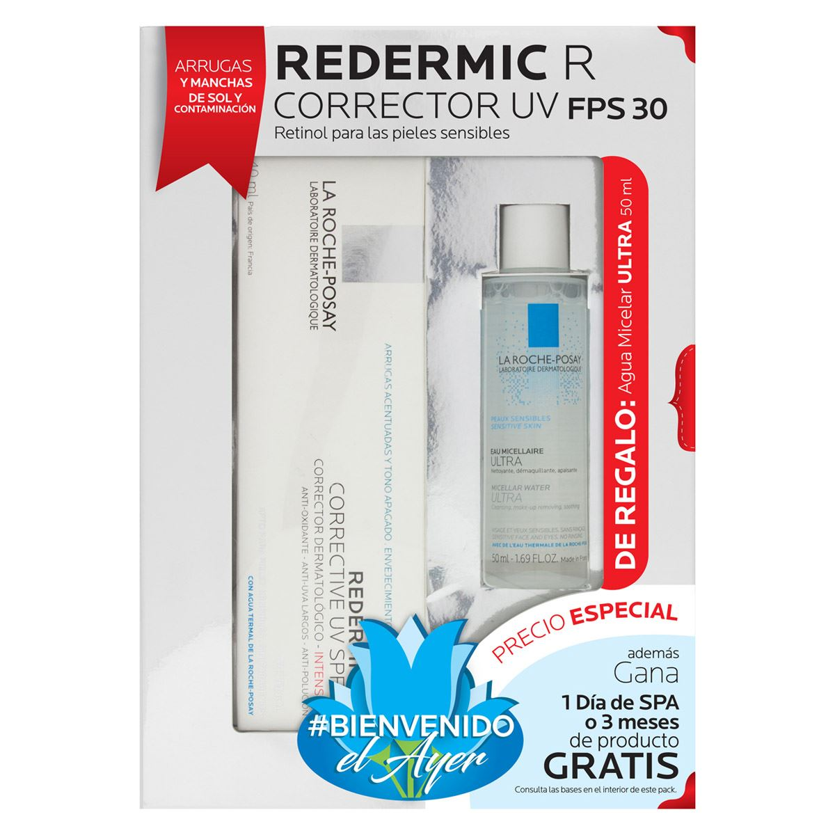 Pack Redermic R Uv con Fps 30 + Agua Micelar de 50 ml de Regalo