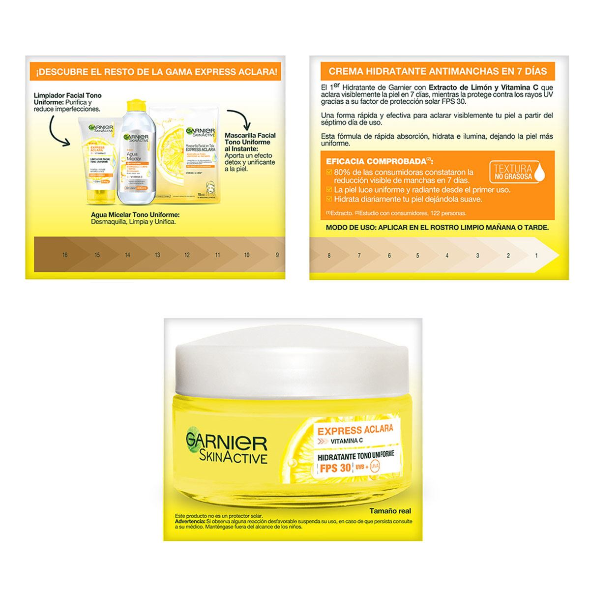 Crema Aclarante Con Fps 30 Y Vitamina C Express Aclara Garnier