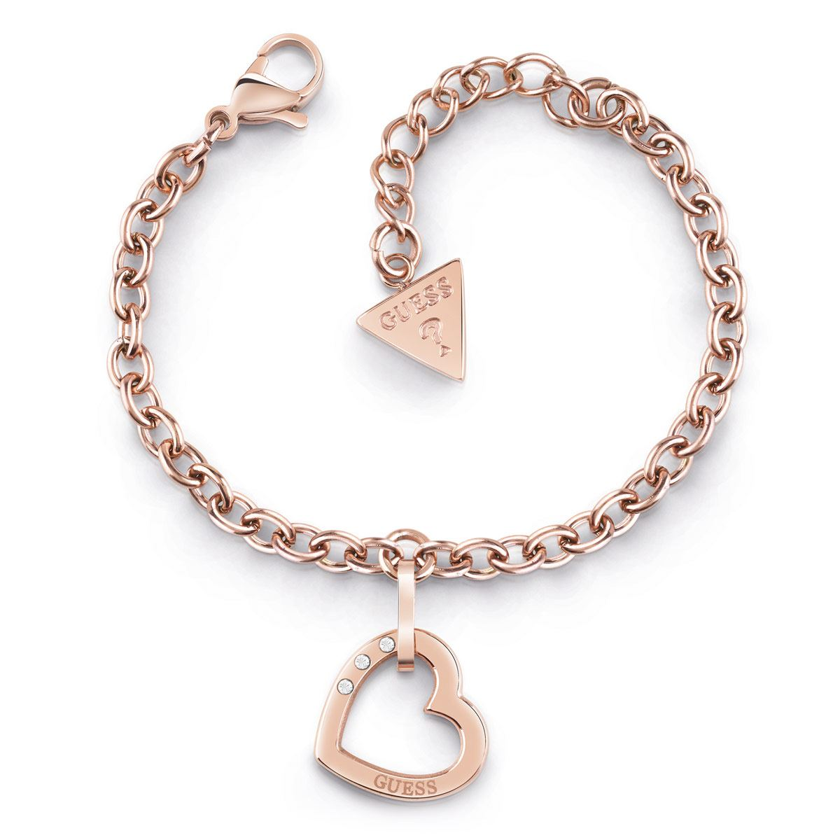 Brazalete GUESS Hearted chain oro rosa