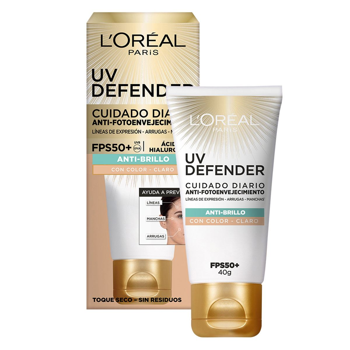 Cuidado diario anti-fotoenvejecimiento FPS50+ L'Oréal Paris  UV Defender anti-brillo tono claro, 40ml