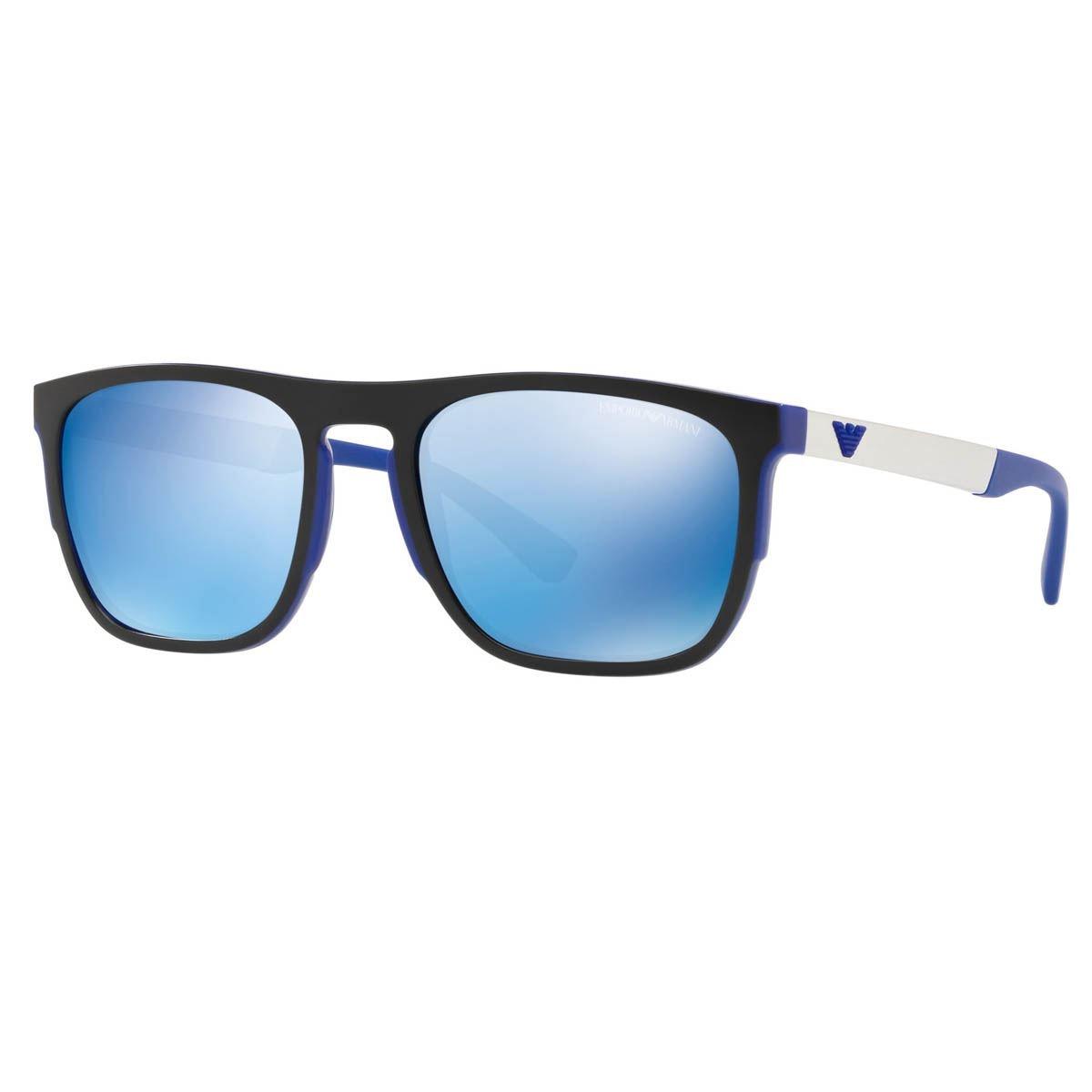 Lente solar Emporio Armani espejeado armazón azul