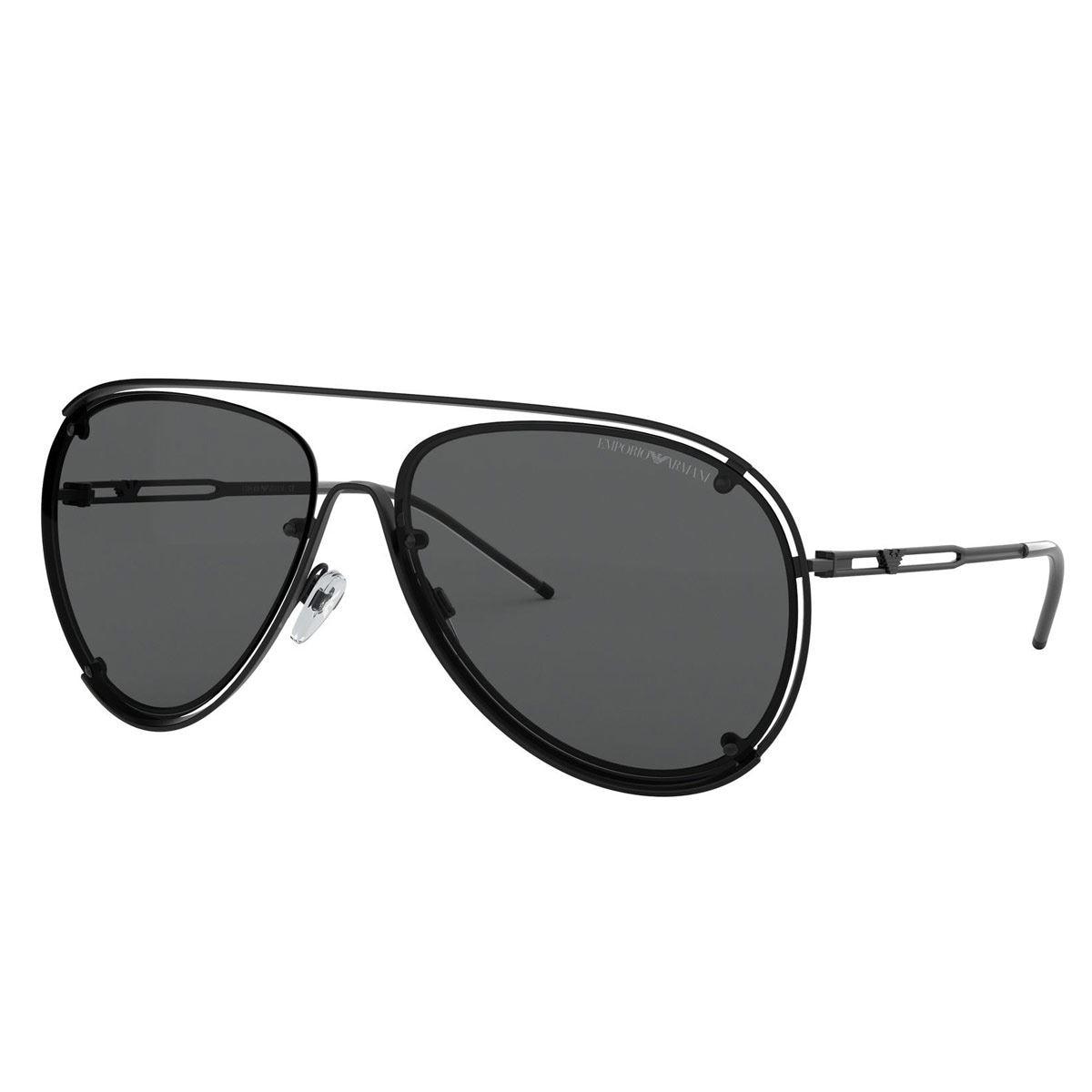 80d60670d2 Lente de sol Emporio Armani gris con armazón de metal negro para hombre