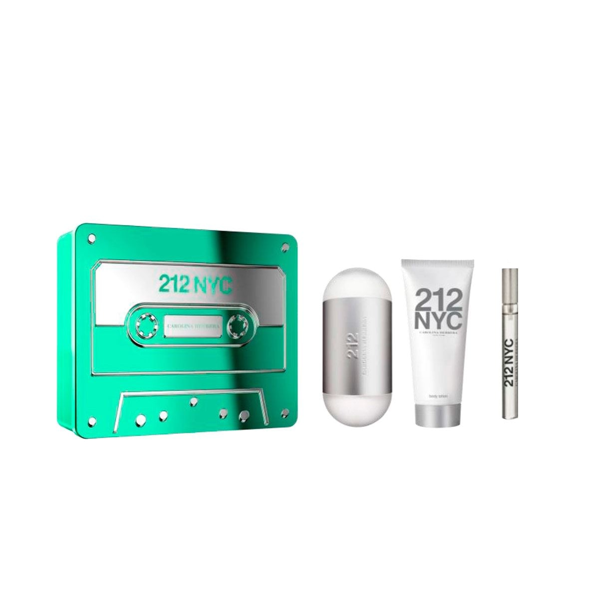 Set para Dama Carolina Herrera 212 NYC EDT 100ML + Body lotion 75ML + Spray de viaje 10ML