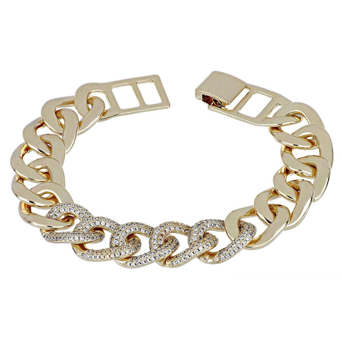 FB, Pulsera cadena de eslabon grande con circonitas  redondas cristal, con acabado en chapado oro