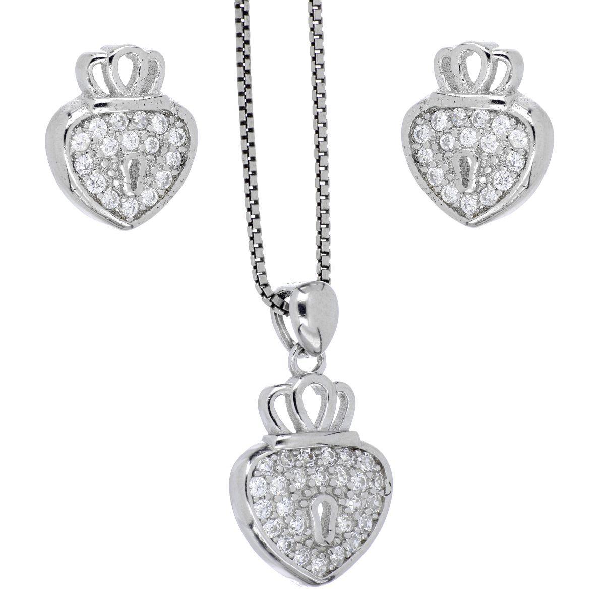 Set arete+dije+cadena Farfalla Bonetti de plata 925 candado corazón, con cadena de 42 cms y  acabado en rodio