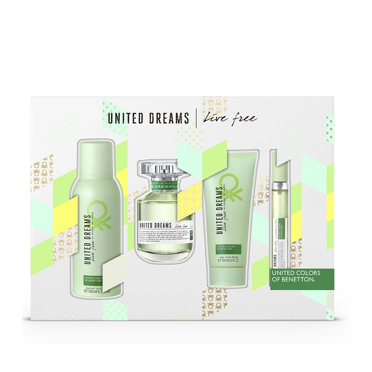 Set para Dama, Benetton United Dreams Live Free EDT 80ML + Desodorante 150ML + Bodylotion 75ML + Fragancia de viaje 15ML
