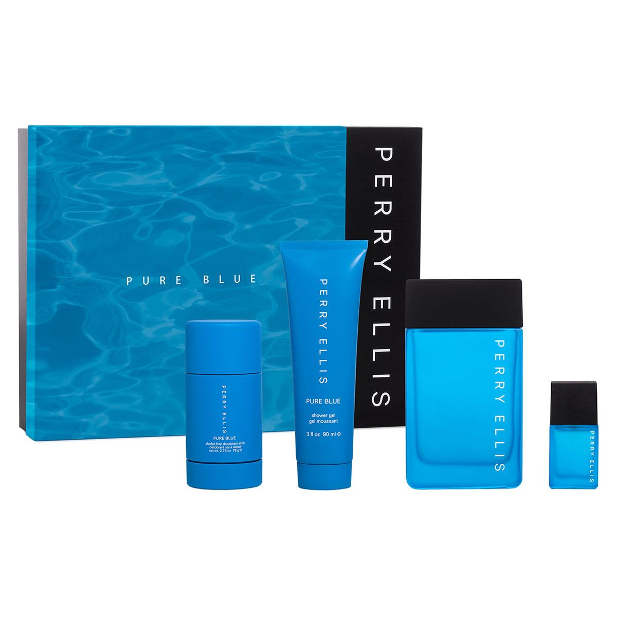 Set para Caballero, Perry Ellis,  Pure Blue EDT  (4 piezas) EDT 100ml + Shower Gel 90ml + Desodorante 78g + Mini 7.5 ml