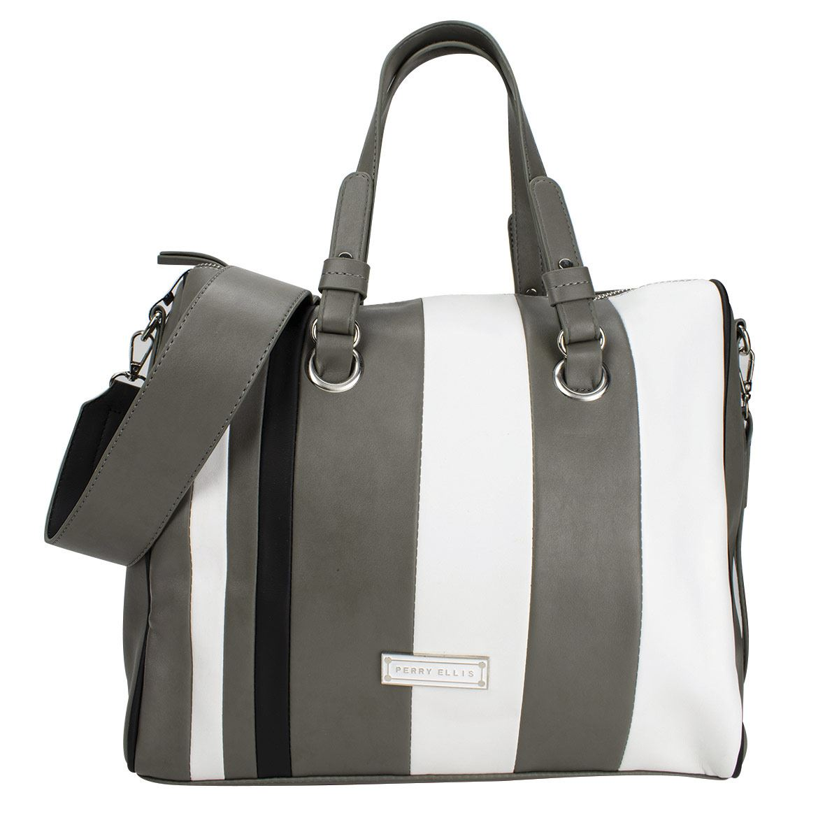 Bolsa Shoulder  Perry Ellis Gris-Negro