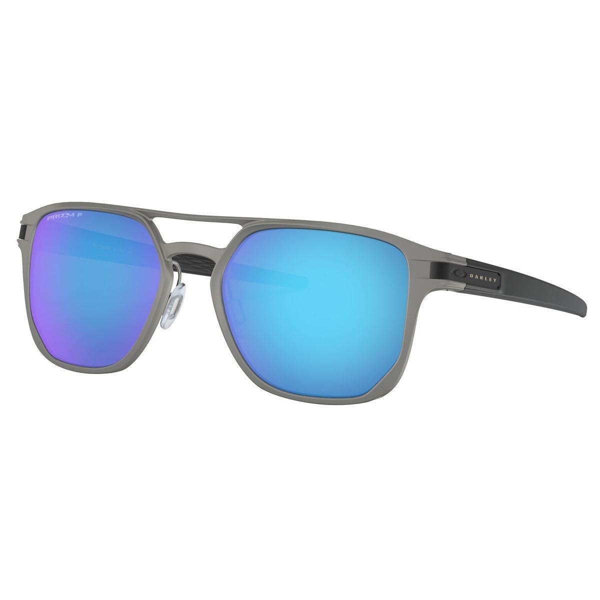 Lente Solar Oakley Latch Alpha Prizm Azul Metal Negro