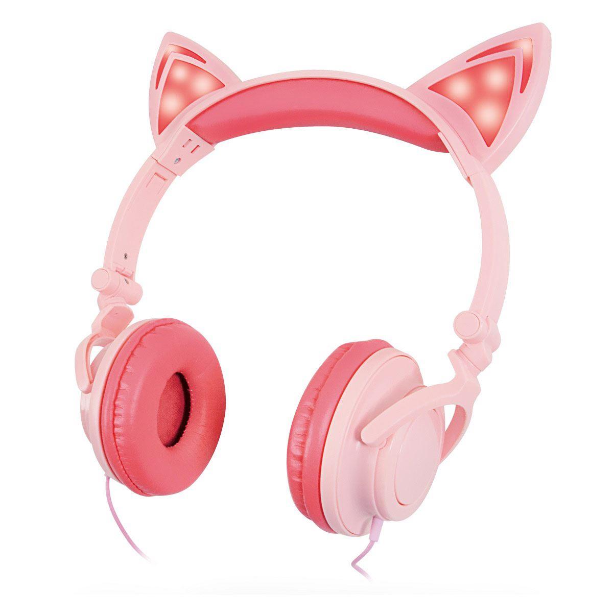 Audífonos Misik Orejas de Gato con Luz Rosa