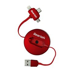 Cable USB Retráctil 3 en 1 Rojo Geartek - Sanborns