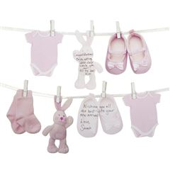 Guirnalda ropa Baby shower rosa - Sanborns