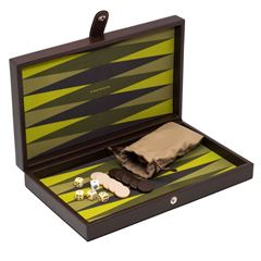 Backgammon Novelty chico de curpiel verde - Sanborns