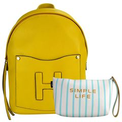 Bolsa Huser Backpack Mediano Modelo Sh19302-2 Color Amarillo - Sanborns