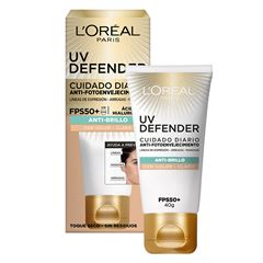 Cuidado diario anti-fotoenvejecimiento FPS50+ L'Oréal Paris  UV Defender anti-brillo tono claro, 40ml - Sanborns