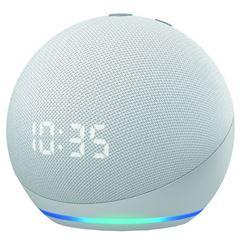 Bocina Echo Dot  (4ta Generación) con Alexa y Reloj Digital Blanco - Sanborns