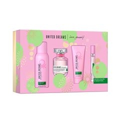 Set para dama, Benetton, United Dreams Love yourself, EDT 80 ml + Desodorante 150 ML + Body Lotion 75 ml + Travel spray 10 ml - Sanborns