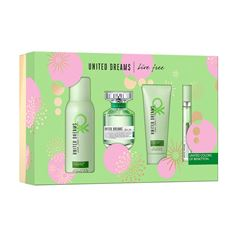 Fragancia Para Dama Set, Benetton, United Dreams Live Free, EDT 80 ml + Desodorante 150 ml + Body Lotion 75 ml + Travel Spray 10 ml - Sanborns