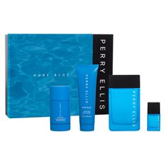 Set para Caballero, Perry Ellis,  Pure Blue EDT  (4 piezas) - Sanborns