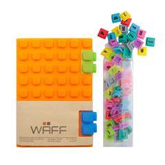 Kit Waff libreta mediana naranja + cubos de colores - Sanborns